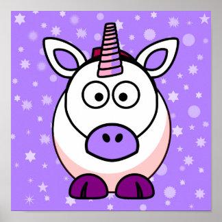 Cute Cartoon Unicorn With Purple Background Poster