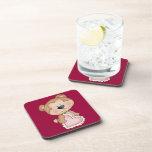 Cute Cartoon Valentine Bear Show Your Love Beverage Coaster