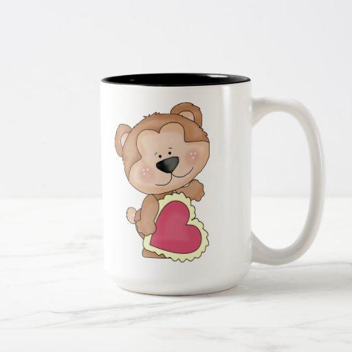 Cute Cartoon Valentine Bear Show Your Love Two-Tone Coffee Mug