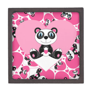 Cute Cartoon Valentine Panda Bear Gift Box