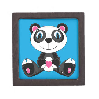 Cute Cartoon Valentine Panda Bear Keepsake Box