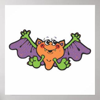 cute cartoon vampire bat poster