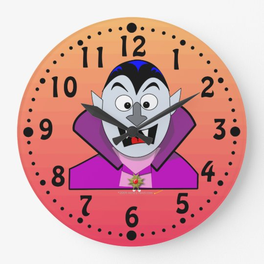 Cute Cartoon Vampire Halloween Custom Clock