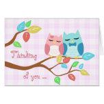 cute cartoon vector owl couple greeting cards