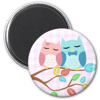 cute cartoon vector owl couple magnet