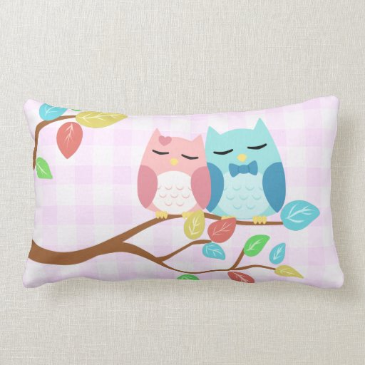 cute cartoon vector owl couple pillow Zazzle