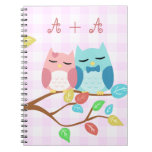 cute cartoon vector owl couple with initials notebooks