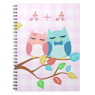 cute cartoon vector owl couple with initials spiral notebook