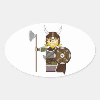 Cute Cartoon Viking Warrior Oval Sticker