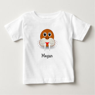 Cute cartoon walrus personalized with childs name baby T-Shirt