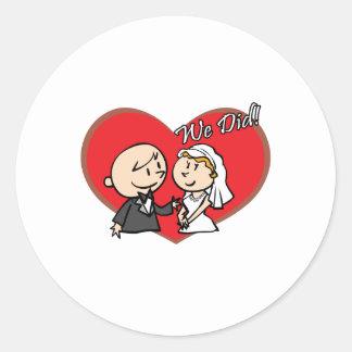 "Cute Cartoon ""We Did"" Wedding couple Classic Round Sticker"