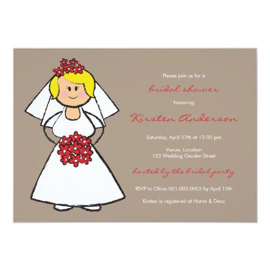 Cute Cartoon Wedding Bride Daisies Bridal Shower Card