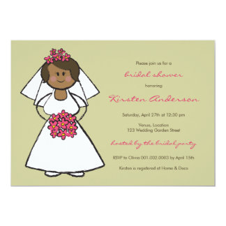 Cute Cartoon Wedding Bride Daisies Bridal Shower Card