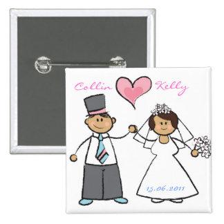 Cute Cartoon Wedding Couple Bride & Groom Button