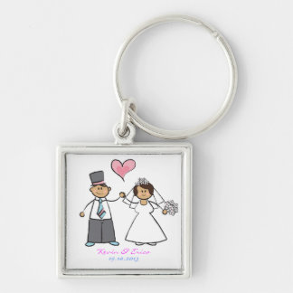 Cute Cartoon Wedding Couple Bride Groom Love Heart Keychains
