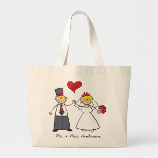 Cute Cartoon Wedding Couple Bride Groom Love Heart Large Tote Bag