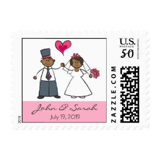 Cute Cartoon Wedding Couple Bride Groom Love Heart Postage