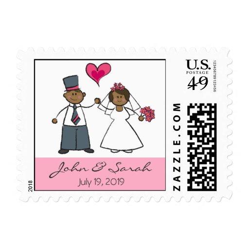 Cute Cartoon Wedding Couple Bride Groom Love Heart Stamps
