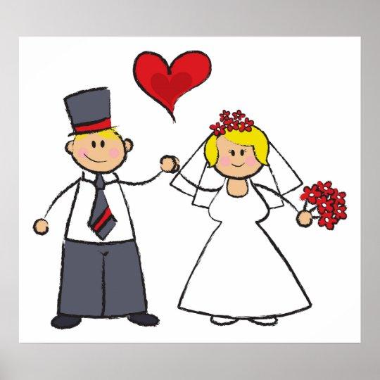 Cute Cartoon Wedding Couple Bride Groom Love Heart Poster