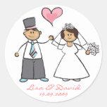 Cute Cartoon Wedding Couple Bride Groom Love Heart Round Stickers