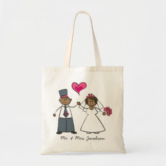 Cute Cartoon Wedding Couple Bride Groom Love Heart Tote Bag