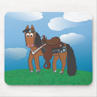 Cute Cartoon Western Horse Mouse Pad