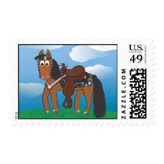 Cute Cartoon Western Horse Postage