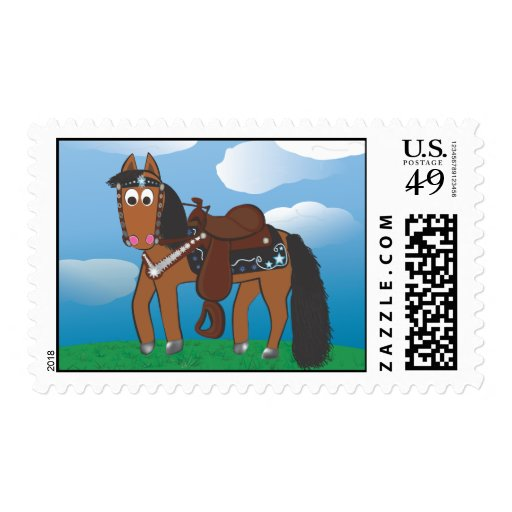 Cute Cartoon Western Horse Postage Stamps