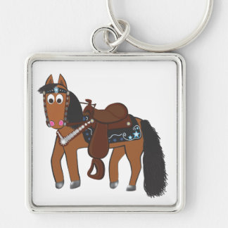 Cute Cartoon Western Horse Silver-Colored Square Keychain