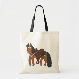 Cute Cartoon Western Horse Tote Bag