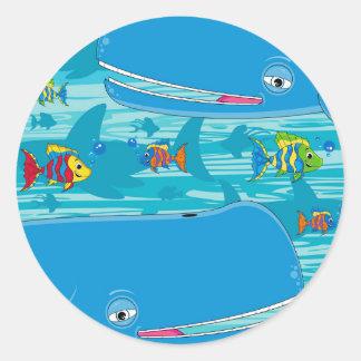 Cute Cartoon Whale Classic Round Sticker