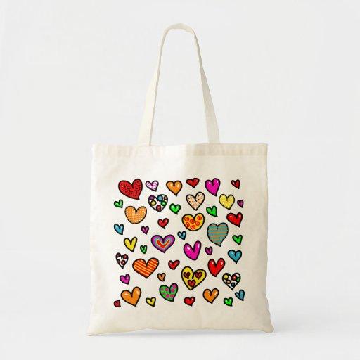 Cute Cartoon Whimsical Multi Love Heart Pattern Tote Bag