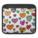 Cute Cartoon Whimsical Multi Love Heart Pattern iPad Sleeves
