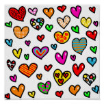 Cute Cartoon Whimsical Multi Love Heart Pattern Print