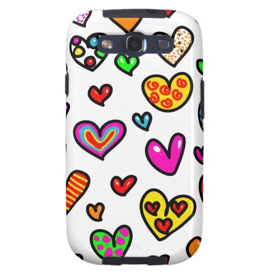 Cute Cartoon Whimsical Multi Love Heart Pattern Samsung Galaxy S3 Case