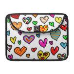 Cute Cartoon Whimsical Multi Love Heart Pattern Sleeves For MacBooks