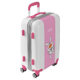 Cute Cartoon White Bunny Snapping Fingers on Pink Luggage