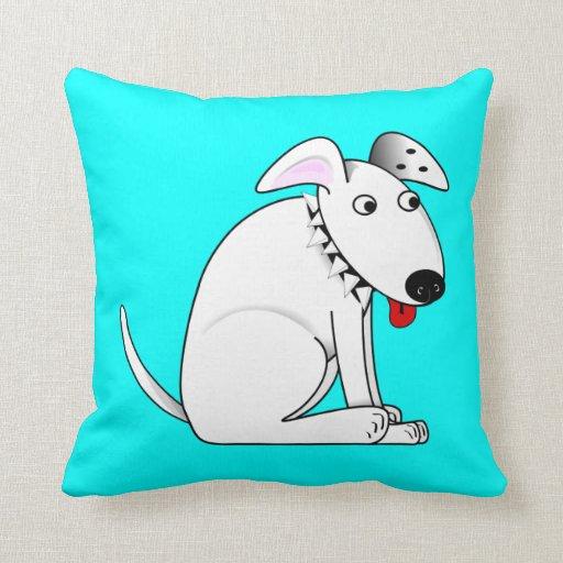 Cute Aqua Throw Pillows : Cute Cartoon White Dog, Collar, Aqua Blue Throw Pillow Zazzle