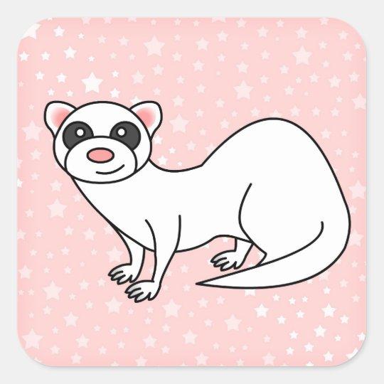 Cute Cartoon White Ferret Pink Star Background Square Sticker