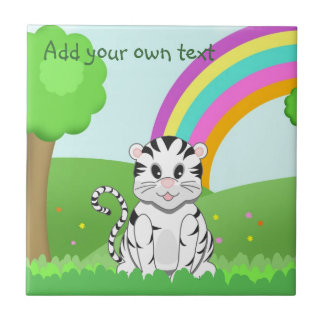 Cute Cartoon White Tiger Cub in Colorful Scene Tile