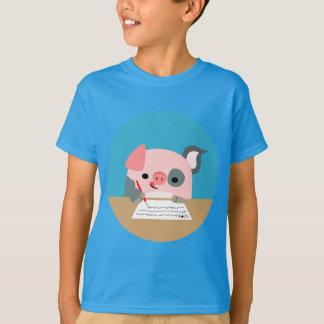 Cute Cartoon Writing Pig Children T-Shirt