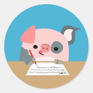 Cute Cartoon Writing Pig Sticker