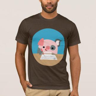 Cute Cartoon Writing Pig T-Shirt