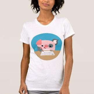 Cute Cartoon Writing Pig Women T-Shirt