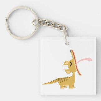 Cute Cartoon Yawning Thylacine Acrylic Magnet Keychain