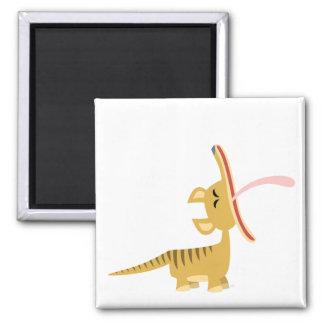Cute Cartoon Yawning Thylacine Magnet