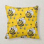 Cute Cartoon Yellow Bumble Bee Throw Pillows