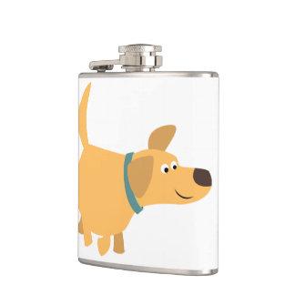 Cute Cartoon Yellow Labrador Hip Flask