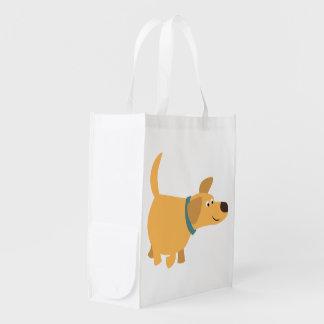 Cute Cartoon Yellow Labrador Reusable Bag