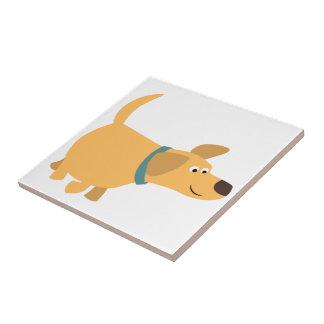 Cute Cartoon Yellow Labrador Tile